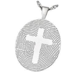 Wholesale Fingerprint Memorial Jewelry: Sterling Silver Oval Pendant- Cross