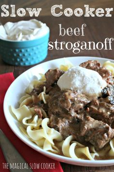 Sour Cream Beef Stroganoff! Perfect over noodles or mashed potatoes!