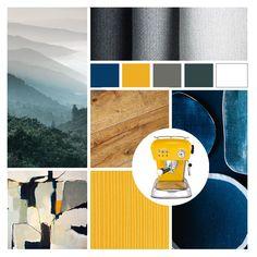 Moodboard blue yellow grey