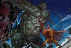 One Punch Man - Saitama & Hulk One Punch Man Anime, Anime One, Tatsumaki One Punch Man, Saitama One Punch Man, Comic Manga, Anime Comics, Comic Books Art, Comic Art, Akira