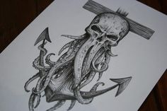 Davy Jones themed tattoo sketch I did! One of my favorite original pieces I've d. - Davy Jones themed tattoo sketch I did! One of my favorite original pieces I've done, and I used @ - Badass Tattoos, Body Art Tattoos, Sleeve Tattoos, Cool Tattoos, Davy Jones Tattoo, Tattoo Sketches, Tattoo Drawings, Maritime Tattoo, Cthulhu Tattoo