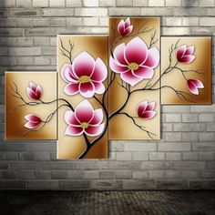 Tienda Online Bright Pink Abstract Flower Oil Paintings Large Canvas Art Cheap Modern 4 Piece Wall Art Set Handpainted Home Decorative Picture Cheap Canvas Art, Large Canvas Art, Wall Canvas, Oil Painting Flowers, Oil Painting Abstract, Diy Painting, Pink Abstract, Abstract Flowers, Abstract Art