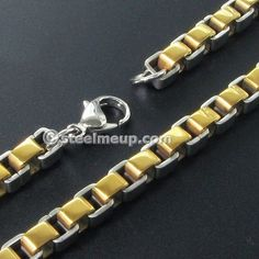 Stainless Steel Wide Gold Box Chain Men Necklace 6mm