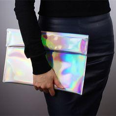 Holographic Foldover Envelope Clutch Bag Purse Metallic Matte Silver Hologram in Clothing, Shoes & Accessories, Women's Handbags & Bags, Handbags & Purses | eBay