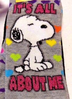 Peanuts Snoopy Its All About Me Rainbow Hearts Womens Socks 2 Pair Set Sz 9 - 11 #Peanuts