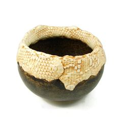 Lace Art Vase or Bowl  Handmade Clay Pottery  Wheel by PatsPottery, $34.00