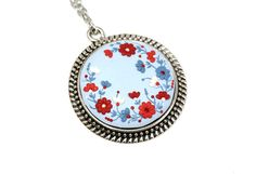 Floral Pendant Necklace Polymer Clay Applique Floral by KittenUmka