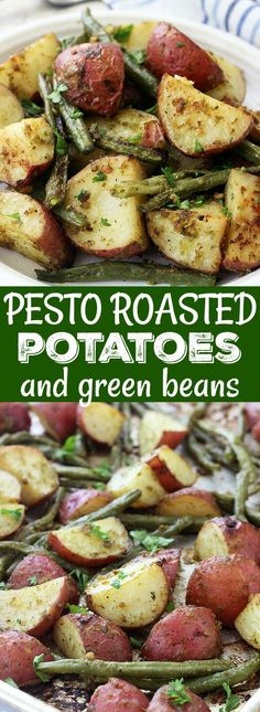Looking for a simple and delicious side dish? These Pesto Roasted Potatoes and Green Beans are made with just four ingredients, and couldn't be easier to prepare! @PotatoGoodness #BeholdPotatoes