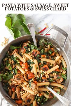 Hearty pasta with caramelized sweet potatoes, sausage and swiss chard. A healthy pasta recipe! Rainbow Swiss Chard Recipe, Rainbow Chard Recipes, Swiss Chard Recipes, Healthy Pasta Recipes, Healthy Pastas, Sweet Potato Pasta, Sausage Pasta, How To Cook Pasta, The Fresh