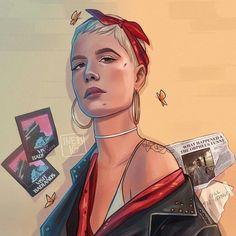 Halsey, Girl Crushes, Cool Art, Awesome Art, Character Design, Instagram, Singer, Fan Art, Drawings