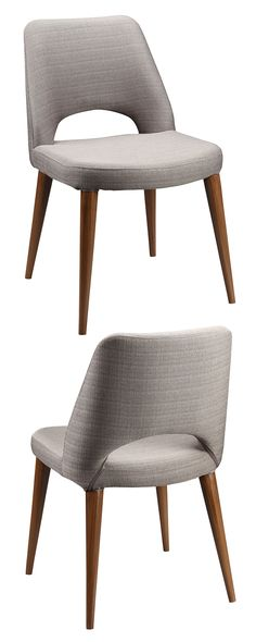 It's hard to resist a sharp silhouette like this one. Upholstered in sharkskin-gray fabric and perched upon sleek tapered legs, our mid-century Townsend Chair is equally suited to the boardroom and the. Find the Townsend Chair - Set of as seen in th Fabric Dining Chairs, Dinning Chairs, Modern Dining Chairs, Chair Fabric, Dining Chair Set, Find Furniture, Home Decor Furniture, Dining Furniture, Modern Furniture