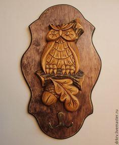 "Ключница ""Мудрая сова"" - сова, резьба по дереву, ручная работа, подарок, сувенир, совенок"