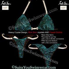 Heavy Crystal Design bikini, loaded with Swarovski Crystals, black mist with Blue Zircon crystals.