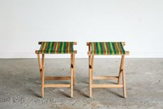 pair camp stools canvas chairs camping chairs by littlecows  - Remember these? $160.00 for the pair on Etsy.....