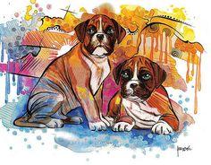 Boxer Dog Art  Dog Wall Art  custom dog art dog decor by BasovaArt
