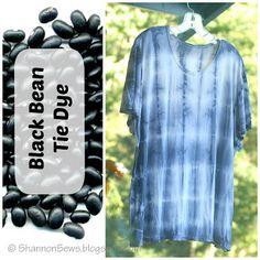 DIY black bean dye tie dyed t-shirt