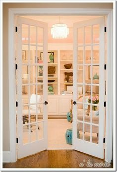 french doors leading into living room, bedroom, of