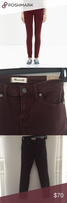 Madewell maroon skinny jeans sz24 NWT Brand new, super comfy Madewell Pants Skinny