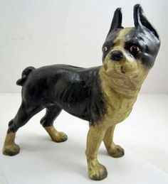 Lot: CAST IRON BOSTON TERRIER DOG LARGE BANK / DOORSTOP -, Lot Number: 0630, Starting Bid: $2, Auctioneer: Pioneer Auction Gallery, Auction: Pioneer Presents Antiques & Collectibles, Date: June 23rd, 2013 GMT
