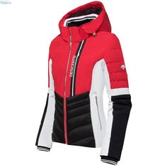 Descente Damen Melina Jacke - Electric Red Black Nylons, Ski Wear, Black And White, Red Black, Motorcycle Jacket, Skiing, Hooded Jacket, How To Wear, Outfits