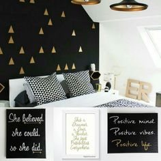 Time for motivational quotes by joyfulartexpressions Just a bit of design inspiration   Bedroom photo source : centophobe.com  The 3 signs at the bottom are available in the etsy shop!  #gold #black #bedroomdecor #interiordesign #edgydecor #style #positivevibes #shebelievedshecouldsoshedid #arrows #motivationalquotes #goteamflourish #etsy #handmade #shopetsy #handlettering #quotes #typography #walldecor