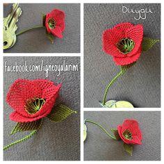 Needle and Thread: Needle Lace Poppy Flower Keychain - Дизайн дома Needle Lace, Bobbin Lace, Needle And Thread, Bead Crochet, Crochet Earrings, Crochet Hats, Sarah Kay Imagenes, Lace Art, Lace Making