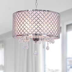Im obsessed with these circular shades bedroom chandelier carina chrome finish drum shade crystal chandelier chrome crystal chandelier grey iron aloadofball Gallery