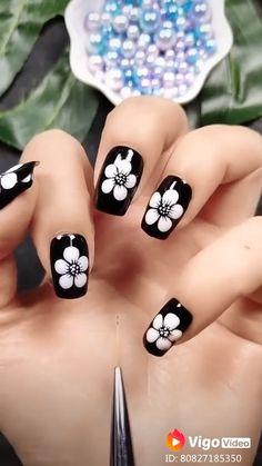 Feather Nail Designs, Dot Nail Designs, Nail Art Designs Videos, Nail Art Videos, Simple Nail Art Designs, Easy Nail Art, Nails Design, Dotting Tool Designs, Nail Art Dotting Tool