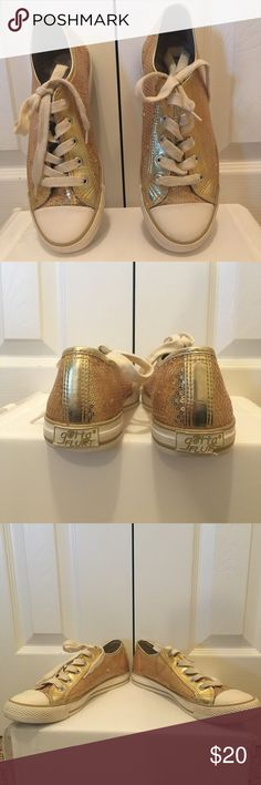 Sequined sneakers Super cute sneaker style shoes embellished with gold sequins. These shoes are in great condition other than the small flaws shown in the photos. Reasonable offers considered💕 Gotta Flurt Shoes Sneakers