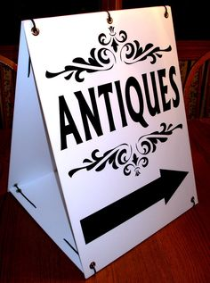 ANTIQUES with ARROW Sandwich Board Sign 2-sided Kit NEW Black on  White