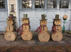 Log snow men, awesome idea!