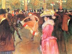 "Happy birthday to French artist Henri de Toulouse-Lautrec. With its top hats and cancan dancing, this famous work of his depicts a wild night in Paris at the Moulin Rouge. ""At the Moulin Rouge: The Dance,"" by Henri de Toulouse-Lautrec Henri De Toulouse Lautrec, Renoir, Belle Epoque, Maurice Utrillo, Georges Seurat, Philadelphia Museum Of Art, Philadelphia Pa, Oil Painting Reproductions, Caravaggio"