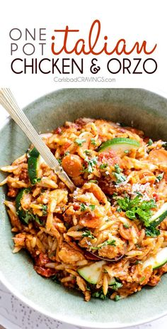 ONE POT Italian Chicken and Orzo (and veggies!) in a creamy Parmesan tomato sauce on your table in almost 30 minutes and all made in one pot!!