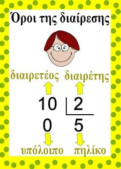 Όροι της διαίρεσης Preschool Education, Elementary Education, Teaching Math, Maths, Math Division, Portuguese Language, Learn Portuguese, School Hacks, Primary School