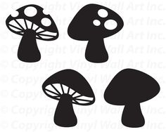 Woodland Mushrooms Set of 4 vinyl decals size by AbbysVinylWallArt