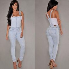 Women's Clothing Womens Ladies Banage Lace Up Denim Jeans Full Length Pinafore Overall Jumpsuit Bodysuits Overalls For Women