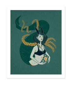 CAPRICORN Poster Zodiac Print Illustrated Poster Winter