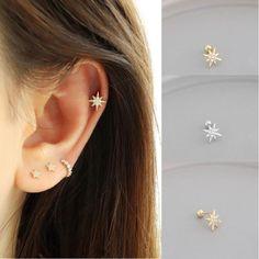 Cute Cartilage Piercing, Cute Cartilage Earrings, Helix Piercing Jewelry, Pretty Ear Piercings, Ear Piercings Cartilage, Chain Earrings, Ear Jewelry, Jewlery, Ear Piercing Combinations
