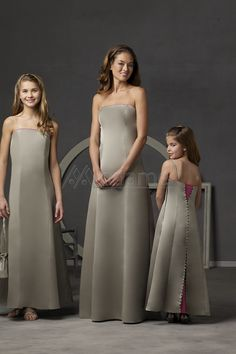 Strapless Floor Length A-line Satin Bridesmaid Dresses Silver Bridesmaid  Dresses dd0dc5760003