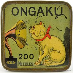 ONGAKU means Music in Japanese. This is a wonderfully designed tin and a very interesting take of the Nipper design where you had a dog listening to a gramophone. Vintage Tins, Vintage Labels, Vintage Antiques, Retro Vintage, Vintage Modern, Vintage Japanese, Vintage Sewing, Music In Japanese, Motif Music