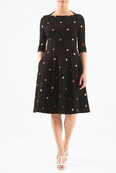 Embellished polka dot cotton knit dress from eShakti. Mine has elbow-length sleeves, and the skirt is mid-calf length.