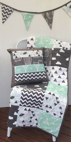 Patchwork cot quilt in Grey Aqua Mint and Black with by Danoah