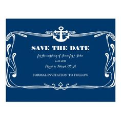 Anchor Navy Blue Wedding Save the Date Cards