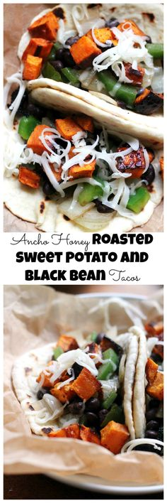Sweet and spicy join forces in these addictive ancho honey roasted sweet potato and black bean tacos.