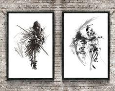 Samurai Warrior Set of 2 Painting, Japanese Samurai Poster, Bushido Art Print, Japanese Style Drawing, Sumi-e Room Decor