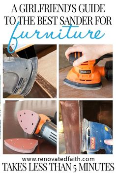 Best Sanders for Furniture 2019 – Here are reviews of the best sanders for wood furniture & other diy projects. Also included is the best sander for refinishing cabinets. Don't spend more than 5 minutes sanding your next furniture piece.  This palm sander is such a time saver and incredibly cheap! This post includes a wood sandpaper grit chart and explains how to sand wood with an electric sander. #easydiy #paintedfurniture #sander