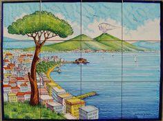 Back Splash Mural Hand Painted Naples Scene, Large Wall Art, Gulf of Naples Italy, Mediterranean Art Mediterranean Art, Glazed Tiles, Decorative Tile, Decorative Panels, Tile Murals, Beautiful Roses, Beautiful Scenery, Beautiful Paintings, Naples Italy