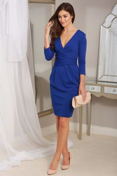 Maggie Royal Blue Fitted Pleated Midi Dress
