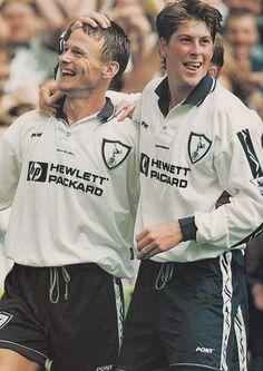 Teddy Sheringham y Darren Anderton en el Tottenham 1995/96