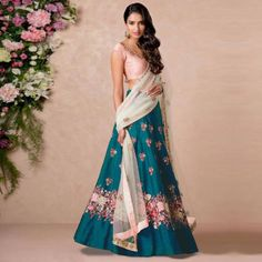 Raw Silk Teal Blue Embroidered Designer Lehenga Choli